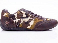 Dunlop Grand Prix Crazy Horse Pig Skin Canvas Damen Sneaker braun-camouflage